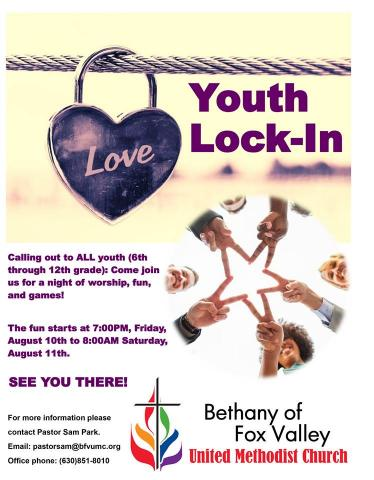 Youth Lock-In August 10-11, 2018